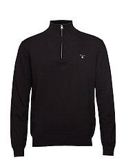 COTTON WOOL HALF ZIP - BLACK