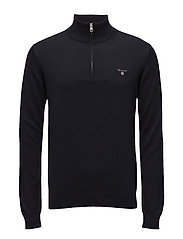 COTTON WOOL HALF ZIP - NAVY
