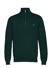 COTTON WOOL HALF ZIP - TARTAN GREEN