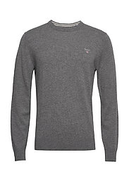 SUPERFINE LAMBSWOOL CREW - DARK GREY MELANGE