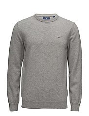 SUPER FINE LAMBSWOOL CREW - GREY MELANGE