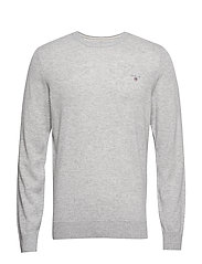SUPERFINE LAMBSWOOL CREW - LIGHT GREY MELANGE