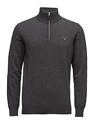 SUPERFINE LAMBSWOOL HALF ZIP - ANTRACIT MELANGE