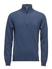 SUPERFINE LAMBSWOOL HALF ZIP - STONE BLUE MELANGE
