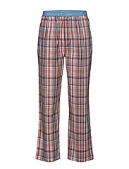 PAJAMA PANTS WOVEN PASTEL CHECK - STRONG CORAL
