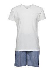 PJ SET V-NECK T STRIPE SHORTS - POSEIDON BLUE