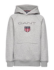 GANT SHIELD HOODIE - LIGHT GREY MELANGE