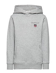 D1. MEDIUM SHIELD SWEAT HOODIE - LIGHT GREY MELANGE
