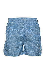 FULL BLOOM OUTLINE SWIM SHORTS C.F. - LAVA BLUE