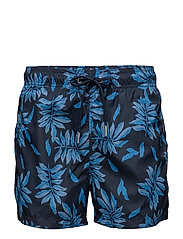 LEAVES LW SWIM SHORTS SHORT CUT - NAVY