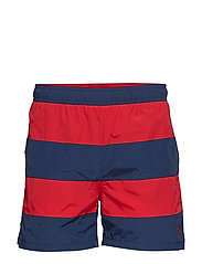 RUGBY STRIPE SWIM SHORTS C.F - BRIGHT RED