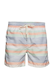 SUNFADED STRIPES SWIM SHORTS C.F - PEACH BUD