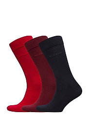 3-PACK SOFT COTTON SOCKS - BRIGHT RED