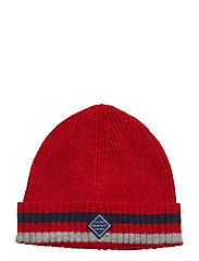 O1. RIB KNIT HAT - BRIGHT RED