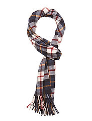 O1. CHECKED LAMBSWOOL SCARF - CREAM