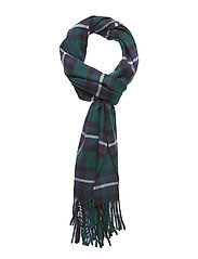 O1. CHECKED LAMBSWOOL SCARF - JUNE BUG GREEN