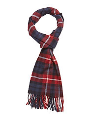 O1. CHECKED LAMBSWOOL SCARF - WINTER WINE