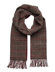 D1. GLENCHECK WOOL SCARF - PORT RED