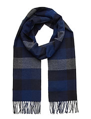 D2. MULTI CHECK WOOL SCARF - CRISP BLUE