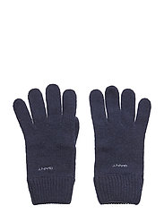 KNITTED WOOL GLOVES - MARINE