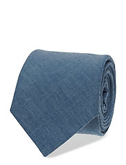 O1. CHAMBRAY TIE - DARK BLUE WORN IN