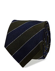 O1. CLUB STRIPE TIE - COUNTRY GREEN