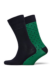 2-PACK SOLID AND DOT SOCKS - KELLY GREEN