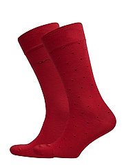 O2. 2-PACK MICRO DOT SOCKS - MAHOGNY RED