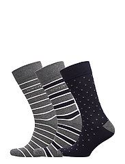 O1. 3-PACK MIXED SOCKS - CHARCOAL MELANGE