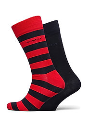 2-PACK BARSTRIPE AND SOLID SOCKS - BRIGHT RED