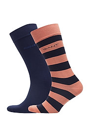 D1.2-PACK BARSTRIPE AND SOLID SOCK - CORAL ORANGE