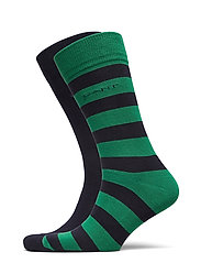 2-PACK BARSTRIPE AND SOLID SOCKS - KELLY GREEN