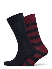 2-PACK BARSTRIPE AND SOLID SOCKS - PORT RED