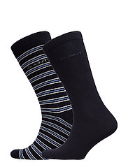 D1. 2 PACK SOLID AND STRIPE SOCK - MARINE