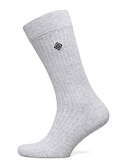 D1. SOLID RIB SOCK EMB SOCKS - LIGHT GREY MELANGE