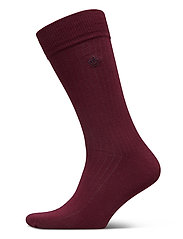 D1. SOLID RIB SOCK EMB SOCKS - PORT RED