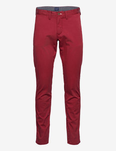 SLIM TWILL CHINOS - chinos - mahogny red
