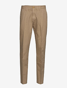O2. REGULAR COTTON LINEN CHINO - DARK KHAKI