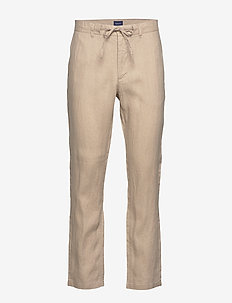 D2. RELAXED LINEN DRAWSTRING PANT - chinos - dry sand