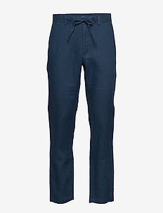 D2. RELAXED LINEN DRAWSTRING PANT - chinosy - insignia blue