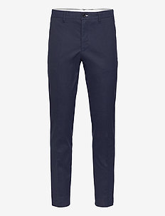D1. SLIM HERRINGBONE PANT - casual trousers - evening blue