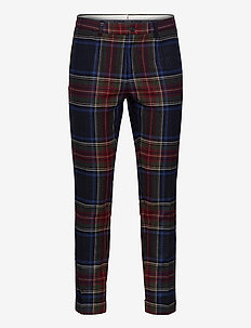 D2. SLIM PLEATED TARTAN PANT - casual trousers - tartan green