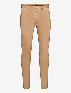 D1. BRUSHED EXTRA SLIM CHINO - pantalons chino - dark khaki