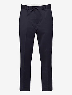 D1. DRAWSTRING WOOL TROUSER - casual trousers - evening blue