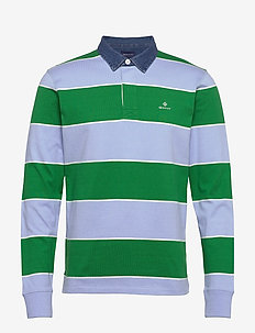 D1. MULTI BARSTRIPE HEAVY RUGGER - polos à manches longues - blue bell