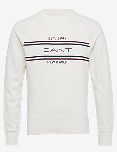 D1. GANT Stripe C-Neck Sweat - sweats basiques - eggshell