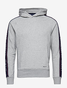 O1.GANT ARCHIVE STRIPE SWEAT HOODIE - LIGHT GREY MELANGE