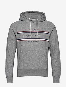 D1. GANT Stripe Sweat Hoodie - bluzy z kapturem - grey melange