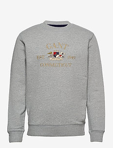 D1. FLAG CREST C-NECK SWEAT - tops - grey melange