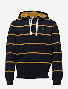 O1.BRETON STRIPE RUGGER HOODIE - EVENING BLUE